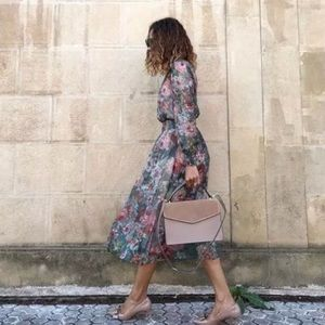 ZARA FLORAL PRINTED MIDI DRESS